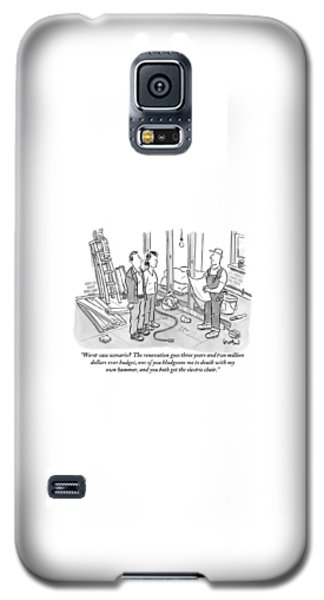Contractor Examining A Blueprint And Speaking Galaxy S5 Case