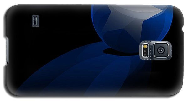 Galaxy S5 Case featuring the digital art Blue Ball Decorated With Star Grass Black Background by R Muirhead Art