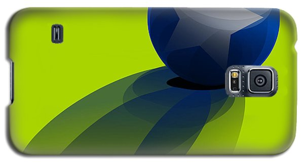 Galaxy S5 Case featuring the digital art Blue Ball Decorated With Star Green Background by R Muirhead Art