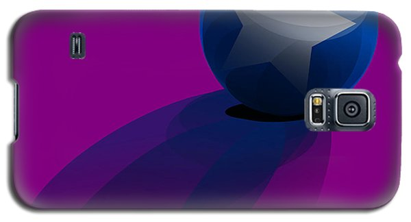 Galaxy S5 Case featuring the digital art Blue Ball Decorated With Star Purple Background by R Muirhead Art