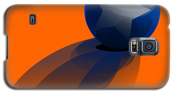Galaxy S5 Case featuring the digital art Blue Ball Decorated With Star Orange Background by R Muirhead Art