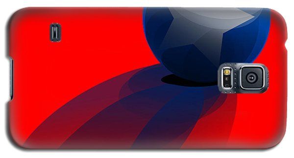 Galaxy S5 Case featuring the digital art Blue Ball Decorated With Star Red Background by R Muirhead Art