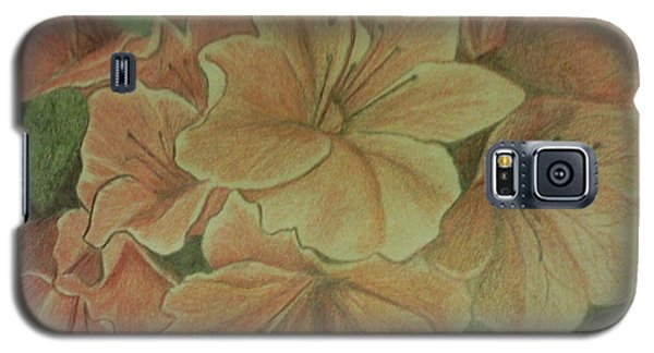 Galaxy S5 Case featuring the drawing Coral Sunburst Azaleas by Christy Saunders Church