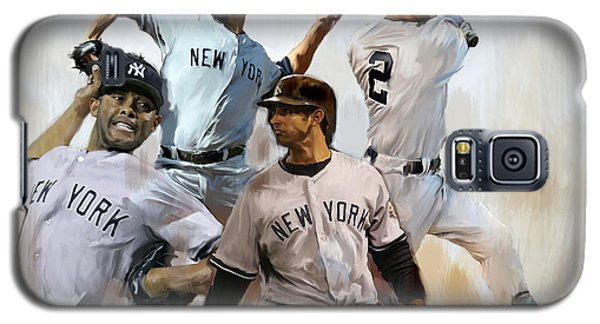New York Yankees Galaxy S5 Case - Core  Derek Jeter Mariano Rivera  Andy Pettitte Jorge Posada by Iconic Images Art Gallery David Pucciarelli