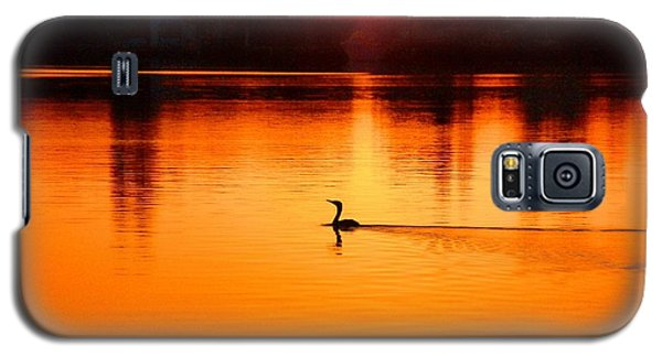 Galaxy S5 Case featuring the photograph Cormorant At Sunset by Pamela Blizzard