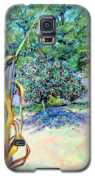 Galaxy S5 Case featuring the painting Corn Stalk And Apple Tree  Autumn Lovers by Asha Carolyn Young