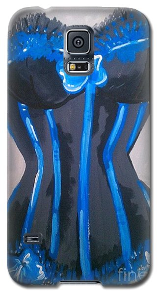 Galaxy S5 Case featuring the painting Corset Blue Lace by Marisela Mungia