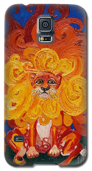Galaxy S5 Case featuring the painting Cosmic Lion by Cassandra Buckley