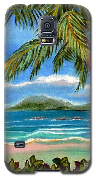 Galaxy S5 Case featuring the painting Costa Rica Highs   Costa Rica Seascape Mountains And Palm Trees by Shelia Kempf