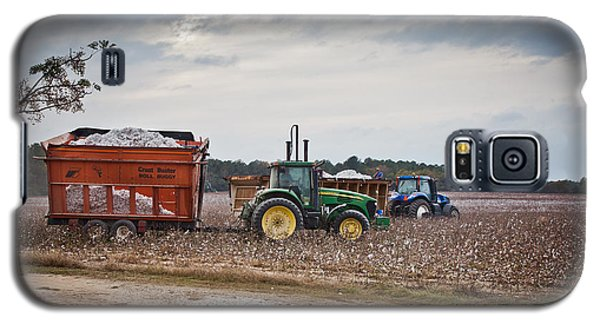 Cotton Harvest With Machinery In Cotton Field Galaxy S5 Case
