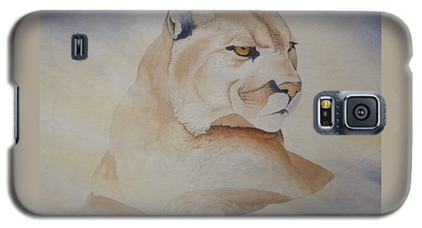 Galaxy S5 Case featuring the painting Cougar On Watch by Richard Faulkner