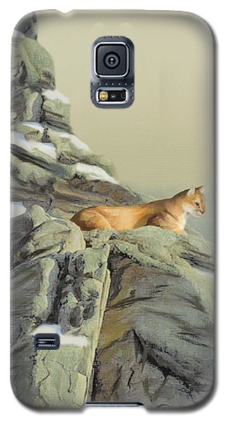 Galaxy S5 Case featuring the painting Cougar Perch by Jane Girardot