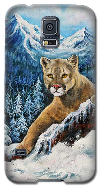 Galaxy S5 Case featuring the painting Cougar Sedona Red Rocks  by Bob and Nadine Johnston