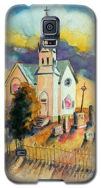 Galaxy S5 Case featuring the painting Country Church At Sunset by Kathy Braud