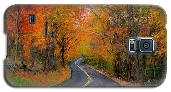 Galaxy S5 Case featuring the painting Country Road In Autumn by Bruce Nutting