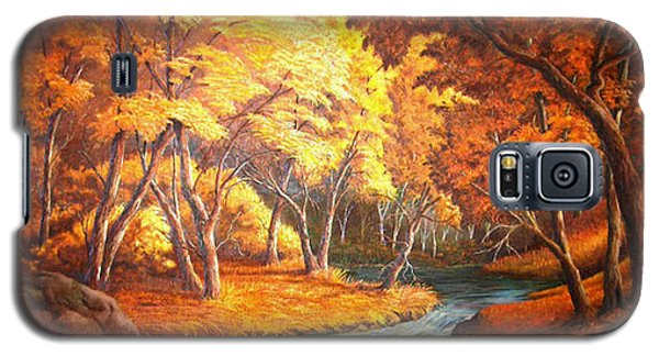 Galaxy S5 Case featuring the painting Country Stream In The Fall by Loxi Sibley