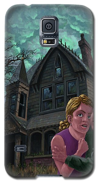 Couple Outside Haunted House Galaxy S5 Case