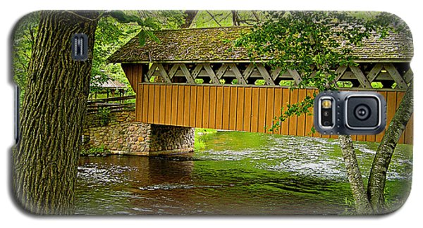 Galaxy S5 Case featuring the photograph Covered Bridge At The Red Mill by Judy  Johnson
