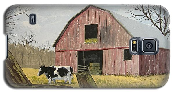 Galaxy S5 Case featuring the painting Cow And Barn by Norm Starks