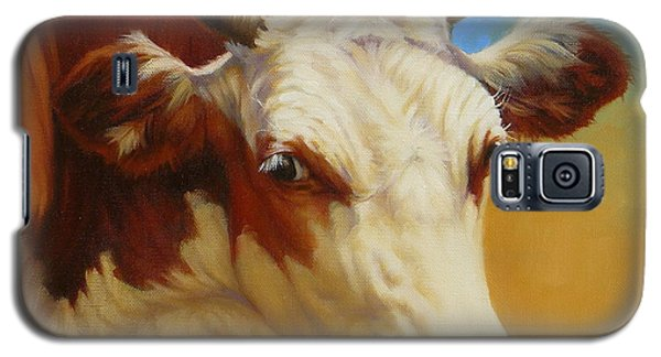 Galaxy S5 Case featuring the painting Cow Face by Margaret Stockdale