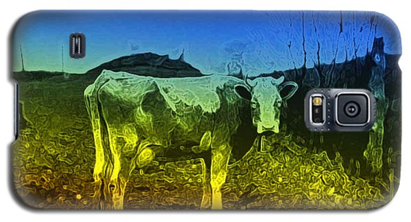 Galaxy S5 Case featuring the digital art Cow On Lsd by Cathy Anderson