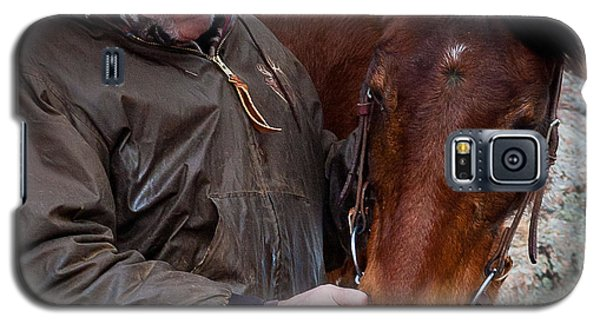 Galaxy S5 Case featuring the photograph Cowboy And His Horse by Steven Reed