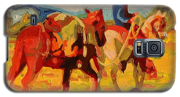 Galaxy S5 Case featuring the painting Cowboy Art Cowboy Leading Pack Horse Painting Bertram Poole by Thomas Bertram POOLE