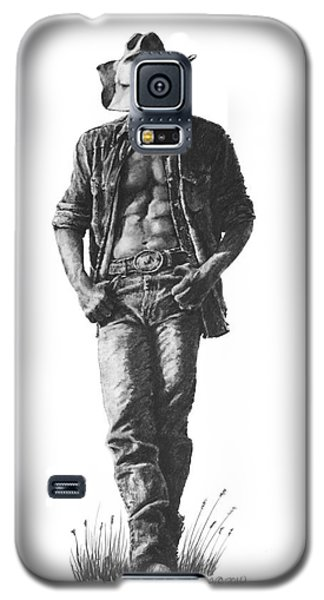 Galaxy S5 Case featuring the drawing Cowboy by Marianne NANA Betts