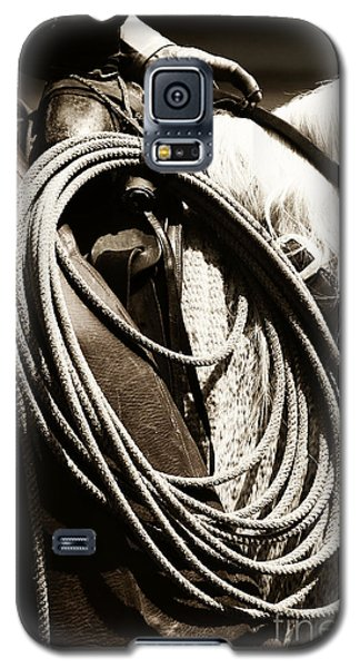 Galaxy S5 Case featuring the photograph Cowboy Rides To Work by Lincoln Rogers