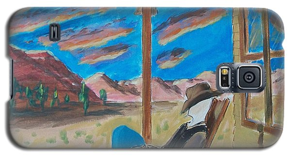 Cowboy Sitting In Chair At Sundown Galaxy S5 Case