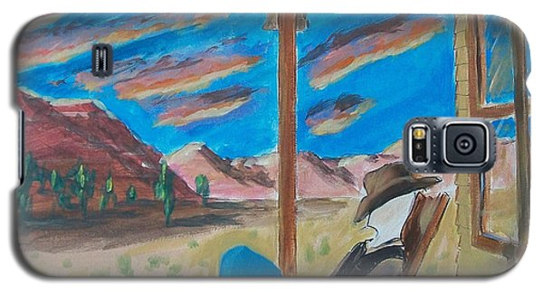 Cowboy Sitting In Chair At Sundown Galaxy S5 Case