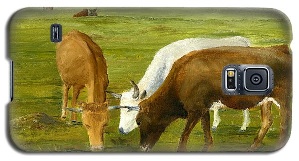 Galaxy S5 Case featuring the painting Cows Gossip Session In Louisiana Pasture by Lenora  De Lude