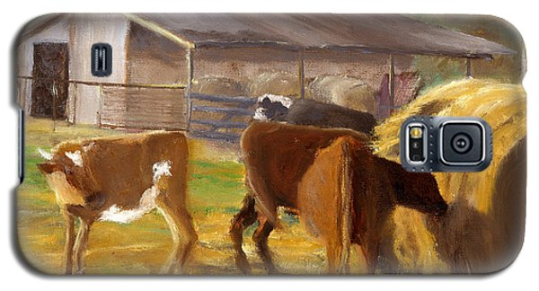 Galaxy S5 Case featuring the painting Cows Hay And Barn In Louisiana by Lenora  De Lude