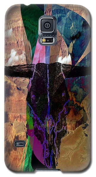 Galaxy S5 Case featuring the digital art Cowskull Over The Canyon by Cathy Anderson