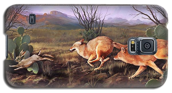 Galaxy S5 Case featuring the painting Coyote Run With Boarder by Rob Corsetti