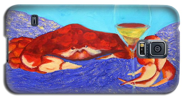 Galaxy S5 Case featuring the painting Crab And Chardonnay by Nancy Jolley