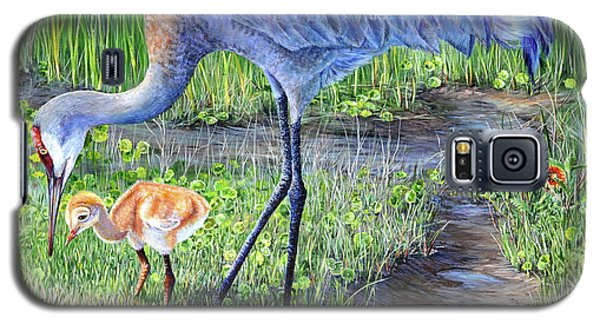 Galaxy S5 Case featuring the painting Crane Circle by AnnaJo Vahle
