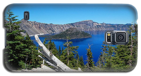 Crater Lake And Fallen Tree Galaxy S5 Case by Debra Thompson