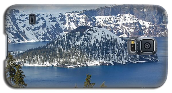 Galaxy S5 Case featuring the photograph Crater Lake With Snow by Debra Thompson