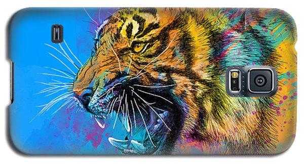 Tiger Galaxy S5 Case - Crazy Tiger by Olga Shvartsur