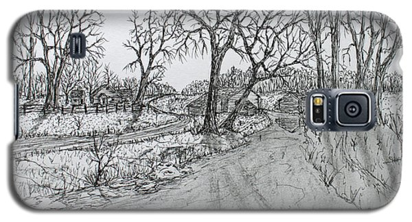Galaxy S5 Case featuring the drawing Creekside Road by Jack G  Brauer