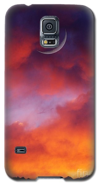 Galaxy S5 Case featuring the photograph Crescent Moon In Purple by Joseph J Stevens