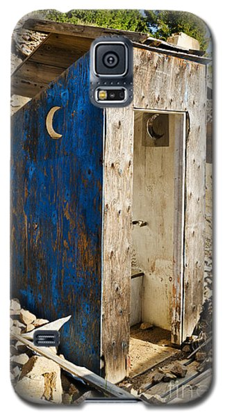 Galaxy S5 Case featuring the photograph Crescent Moon Outhouse by Sue Smith