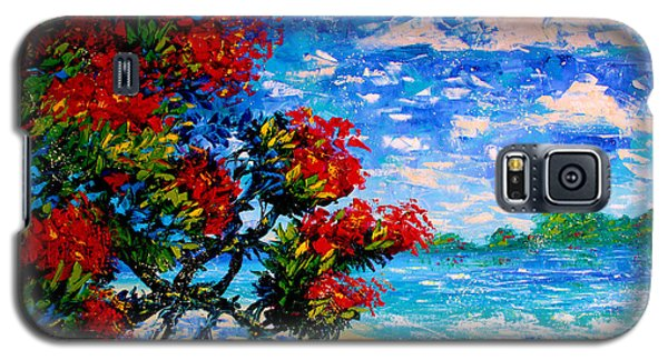 Crimson Bloom Red Flower Tree At The Beach Blue Sky Landscape Galaxy S5 Case