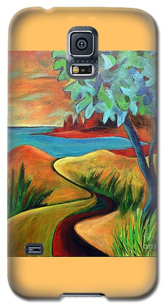 Galaxy S5 Case featuring the painting Crimson Shore by Elizabeth Fontaine-Barr