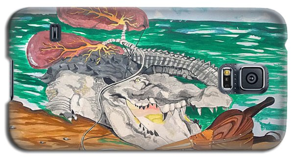 Galaxy S5 Case featuring the painting Crocodile Emphysema by Lazaro Hurtado