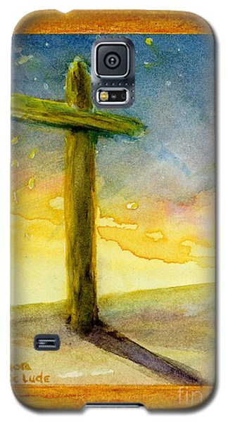 Cross At Dawn In Blue And Gold Sunrise Galaxy S5 Case