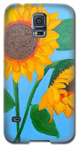 Galaxy S5 Case featuring the painting Crossed Sunflowers by Margaret Harmon