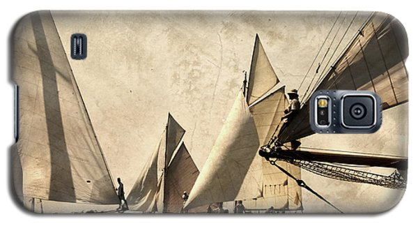 A Vintage Processed Image Of A Sail Race In Port Mahon Menorca - Crowded Sea Galaxy S5 Case by Pedro Cardona