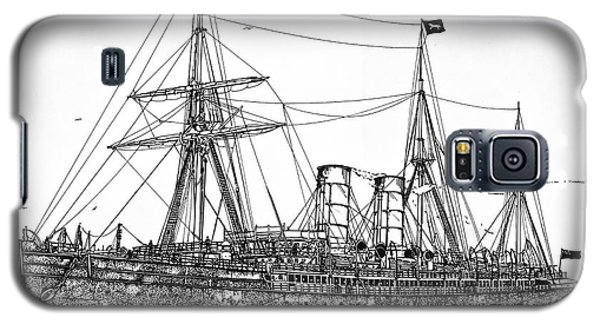 Galaxy S5 Case featuring the drawing Cunard Liner Umbria 1880's by Ira Shander